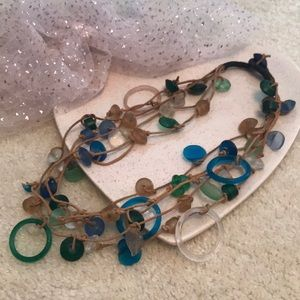 Sea Glass & Leather Necklace Artist Made